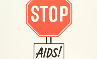 poster with a stop sign that reads STOP AIDS