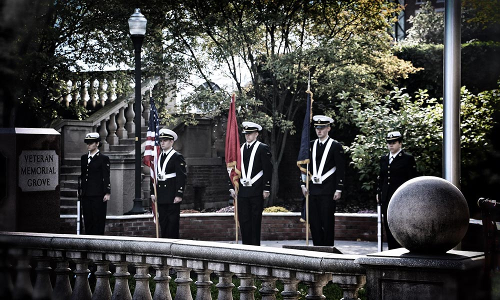 color guard at Veteran Memorial Grove.