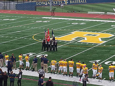 color guard on football field