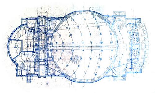 historical blueprint illustration