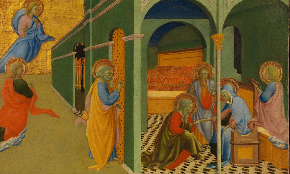 medieval painting of disciples and Jesus