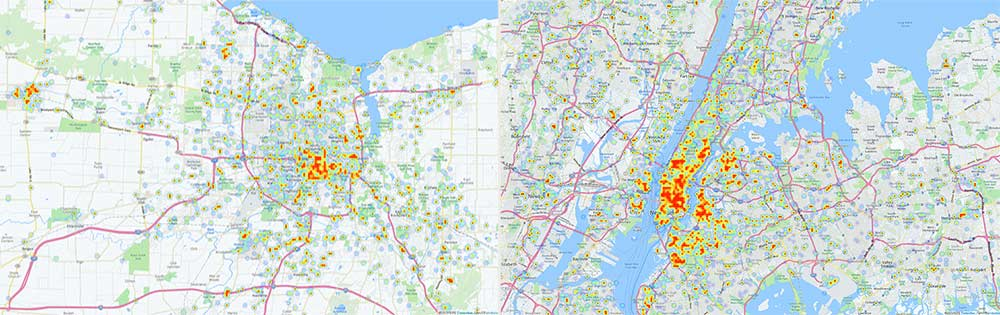 Heatmaps show concentrations of tweets while drinking from Monroe County, NY (left) and New York City.