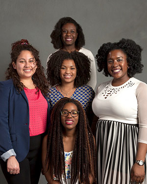 Five women, members of the Black Students' Union