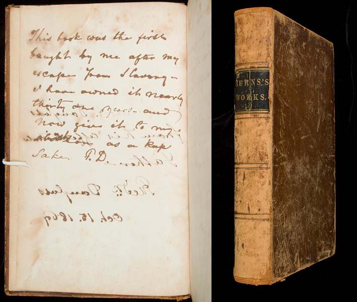 two images side by side, one showing Frederick Douglass's handwriting and the other the outside cover of the book of RObert Burns poetry