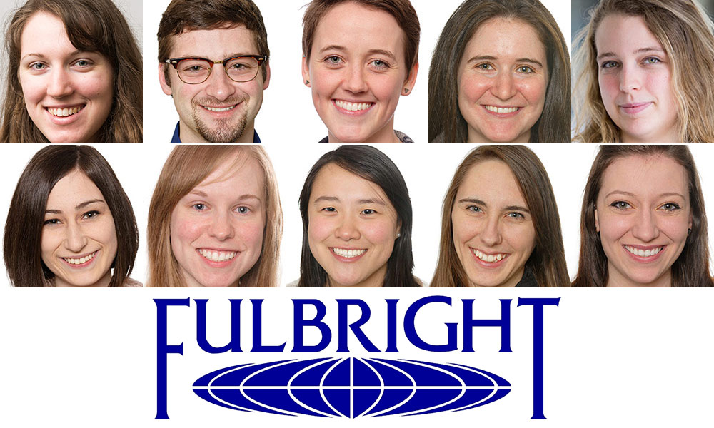 collage of Fulbright winners and Fulbright logo