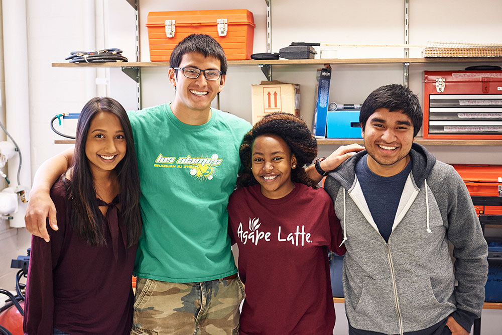 portrait of a team of four students
