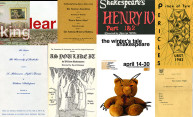collage with a dozen different playbills from Shakespeare productions