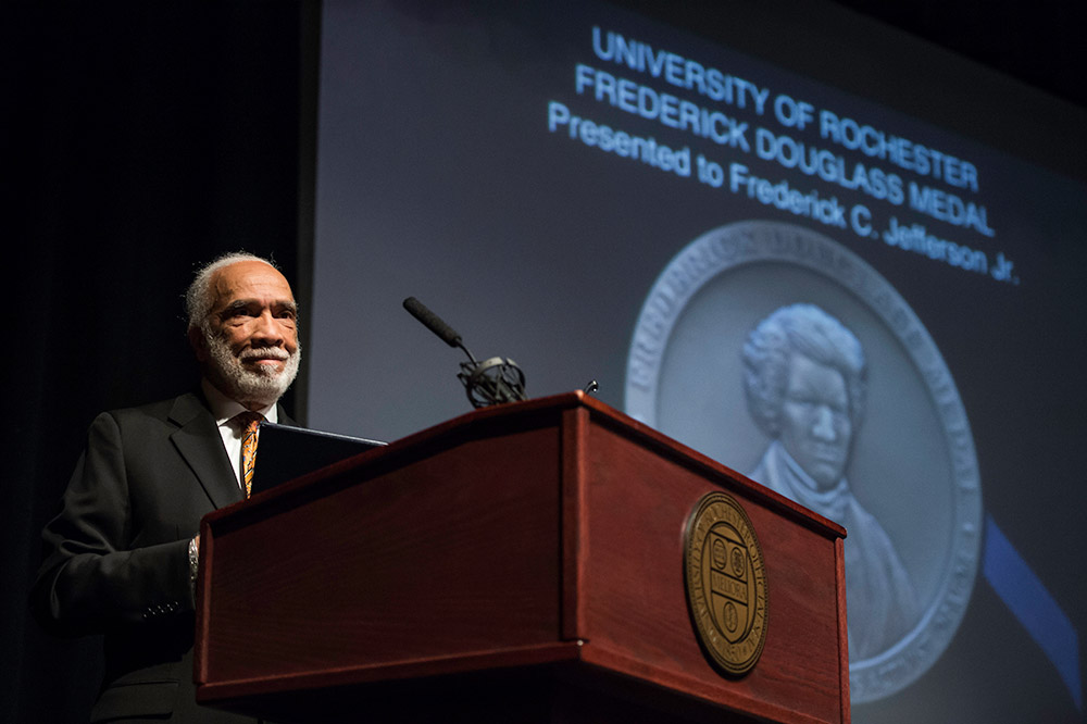 Frederick Jefferson speaks at the podium