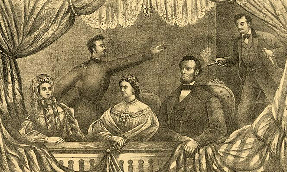 historical illustration of Lincoln assassination in Ford's Theatre