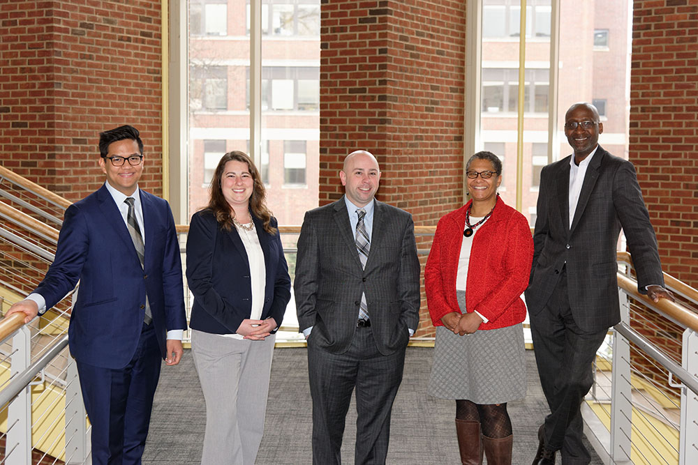 The Hajim School Undergraduate Academic Support team includes: (from left) Alvin Lomibao, Kelly Johnson, Nick Valentino, Lisa Norwood, and Rohan Palma.