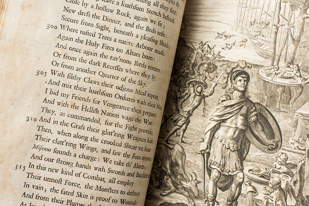 close-up of a page from The Works of Virgil