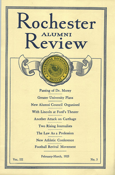 Cover from 1925 issue of Rochester Review
