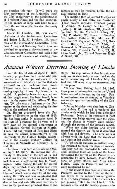 facsimile of the story in Rochester Review featuring alumnus witness account of Lincoln assassination