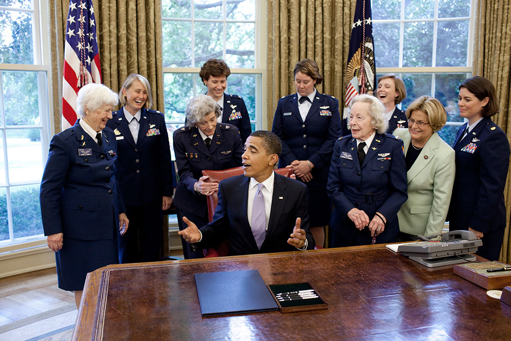 group of women at the Oval Office with President Obama