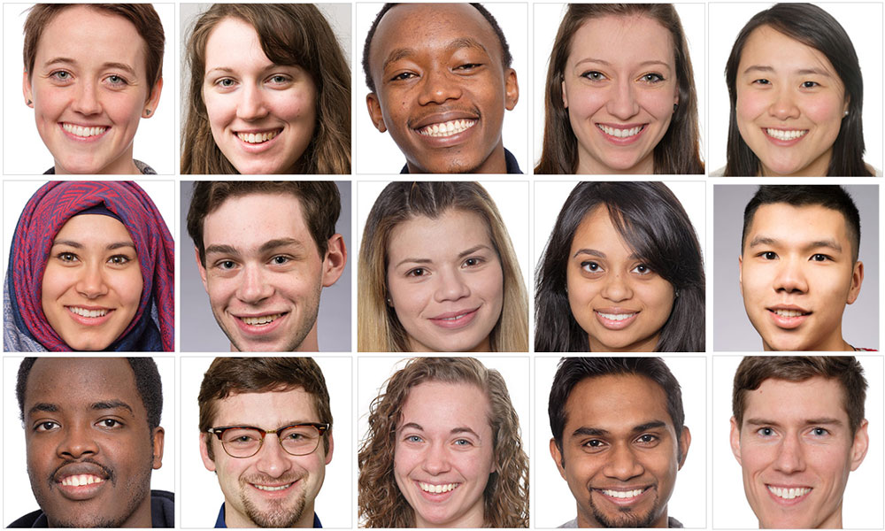 collage of 15 student portraits