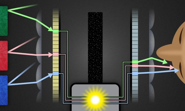 graphic illustration of light reflecting off blocks