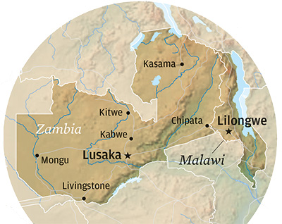 detail map of Zambia