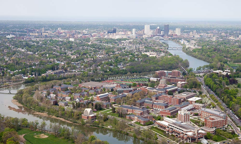 aerial view of the University and downtown Rochester