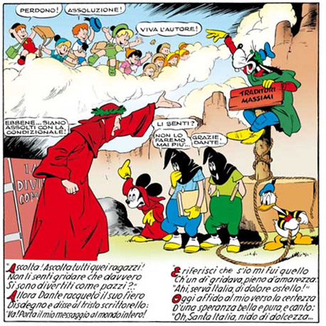Mickey Mouse cartoon strip featuring a parody of Dante's Inferno