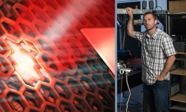 a scientific illustration of a quantum dot and a portrait of Nick Vamivakas in his lab.