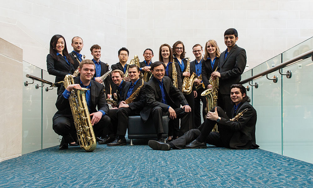 student musicians pose for photo