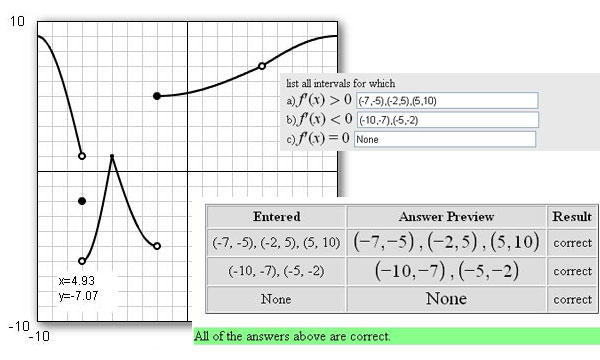 """screenshot shows a math problem in WebWork with the green """"All the Answers Above Are Correct"""" notification"""