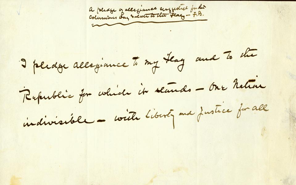 historical image of handwritten text of Pledge of Allegiance