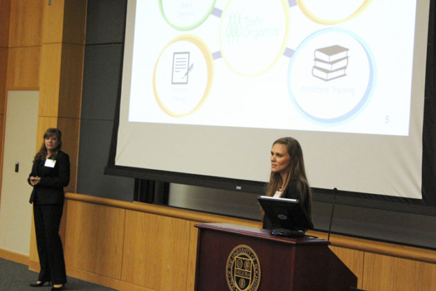 Mikalya Hart '17S (MBA), far right, and Tashi Organics partner Kari Wozniak present their business plan on Friday.