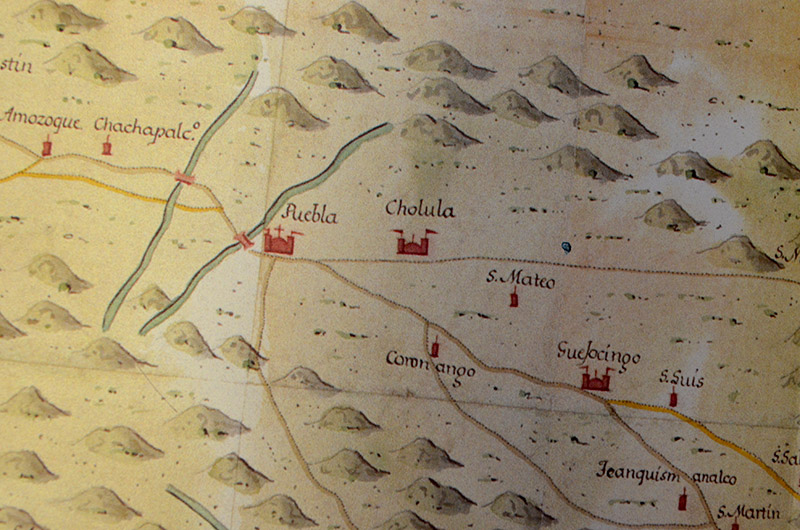 detail of a historic map of Mexico shows town of Puebla