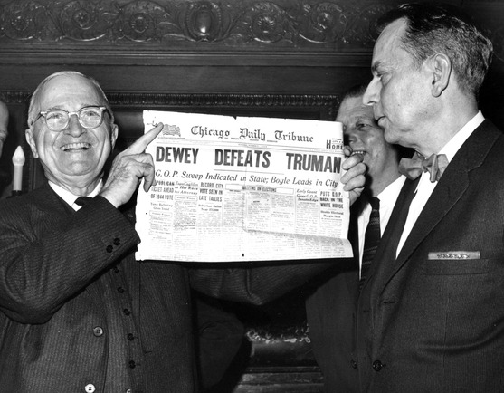 Harry Truman, left, holds up Chicago Daily Tribune newspaper from Nov. 3, 1948. Credit: Harry S. Truman Library & Museum.