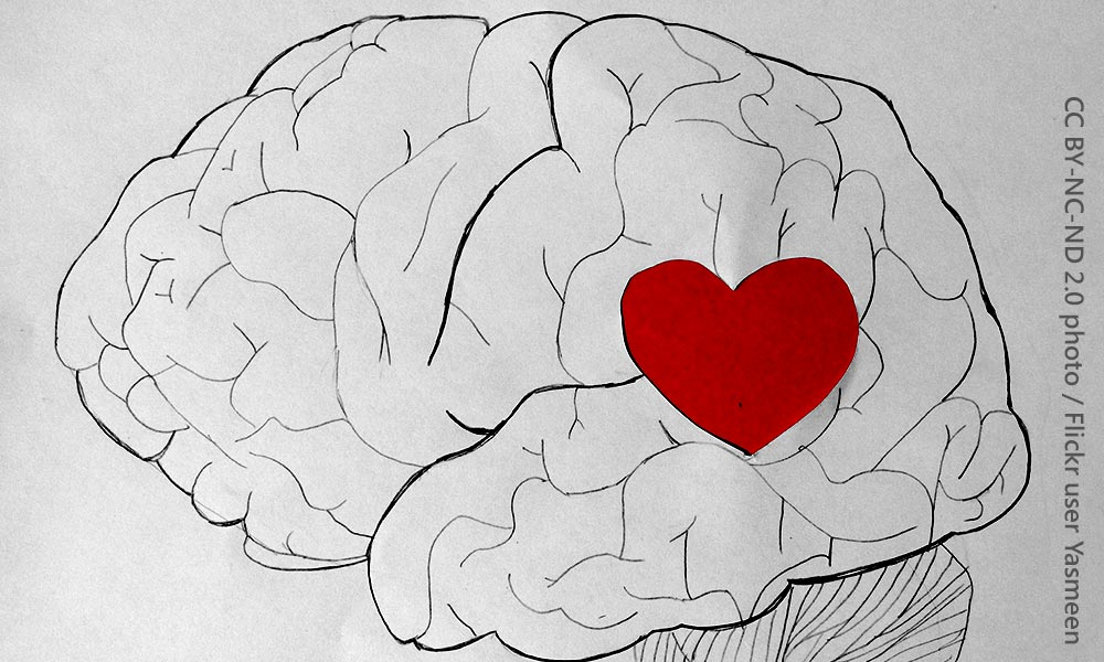 drawing of a brain with a heart in the middle