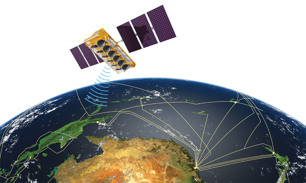 illustration of a satellite over the earth, showing cellular phone network lines