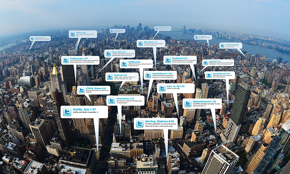 illustration of tweets over manhattan
