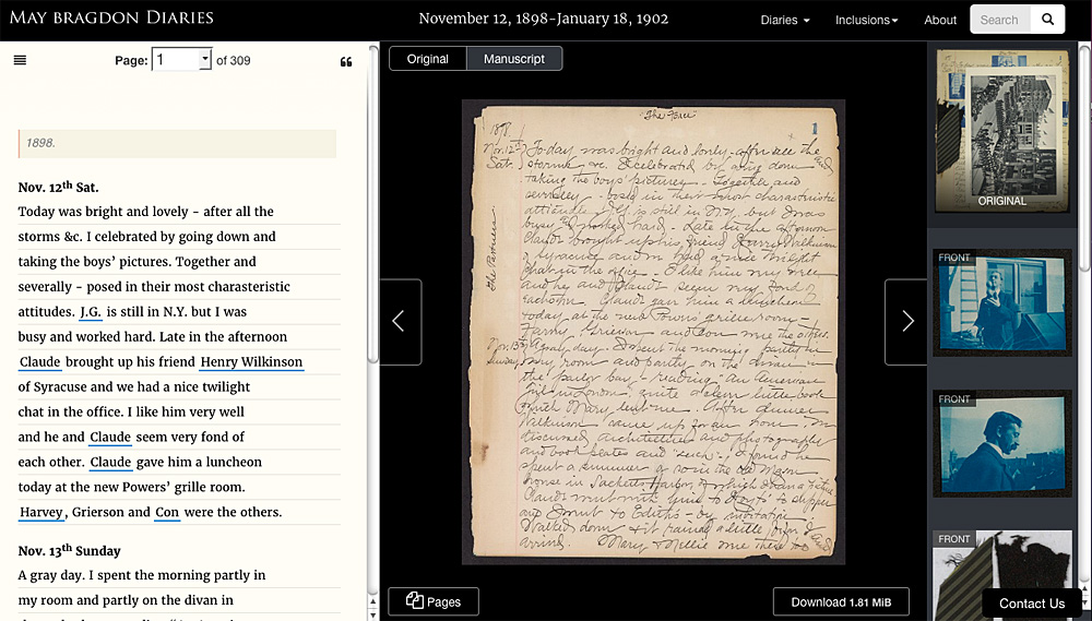 How the same entry appears at the website, which allows simultaneous viewing of a transcription, at left, an unobstructed view of the original manuscript at center, and the inclusions at right.