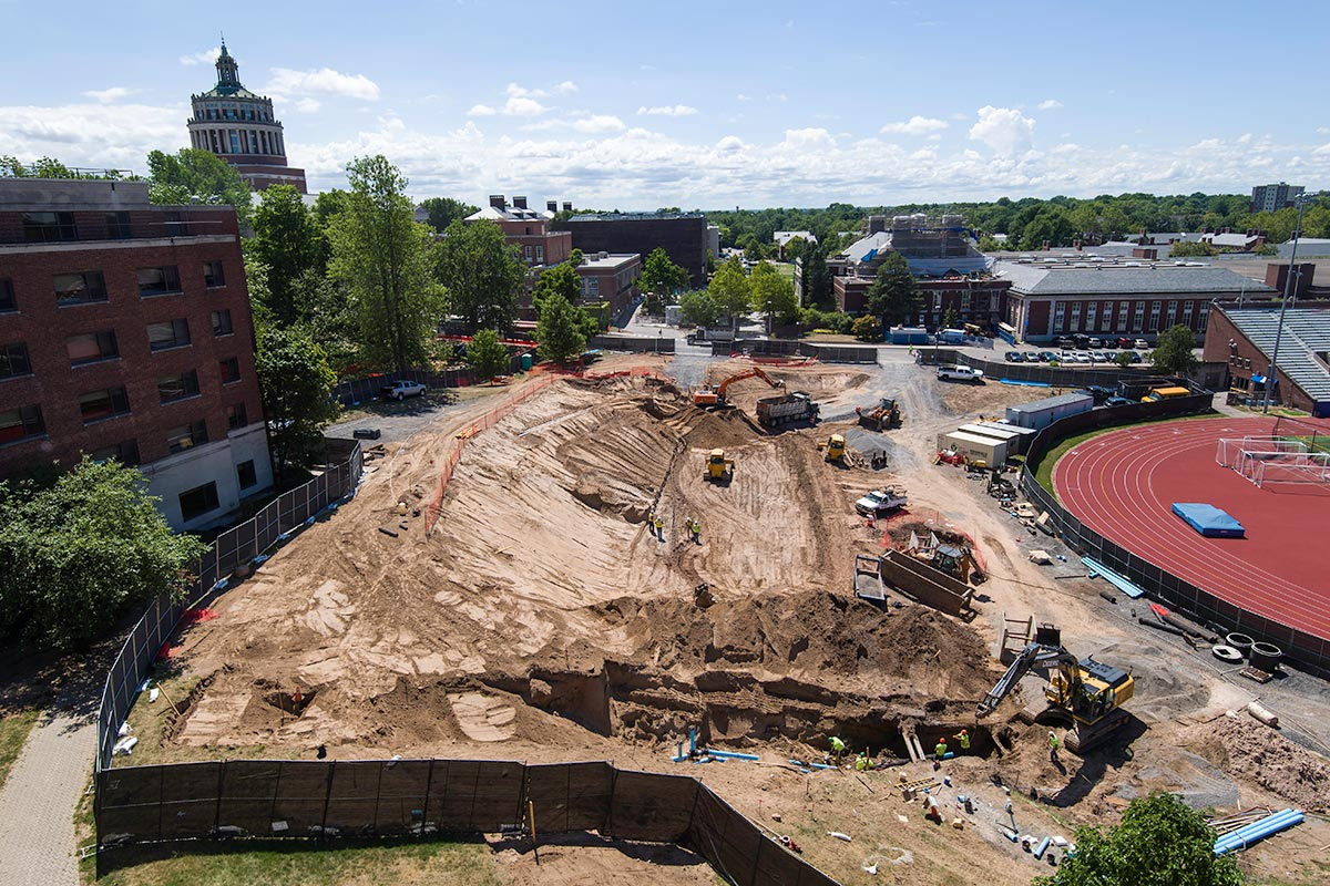 construction site for new residence hall