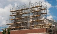 scaffolding around Goergen Athletic Center