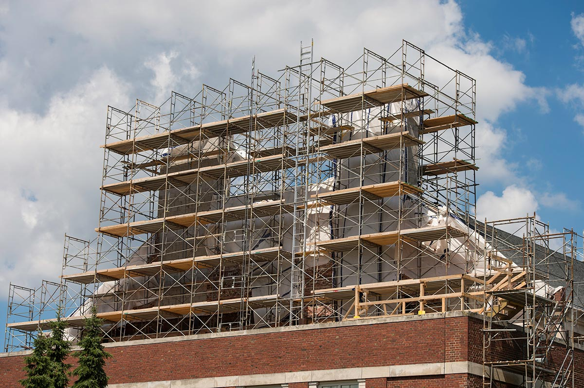 scaffolding around Goergen Athletic Center