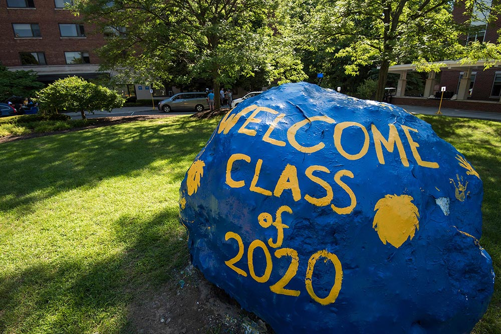 rock painted to read WELCOME CLASS OF 2020