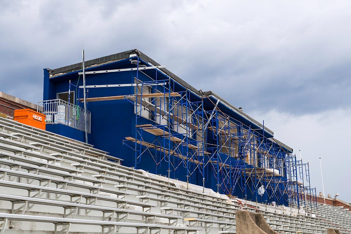construction scaffolding around stadium press box