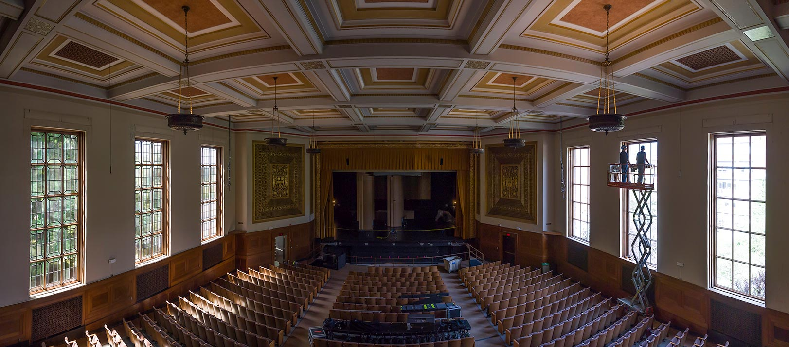 panoramic image of Strong Auditorium and its double set of windows