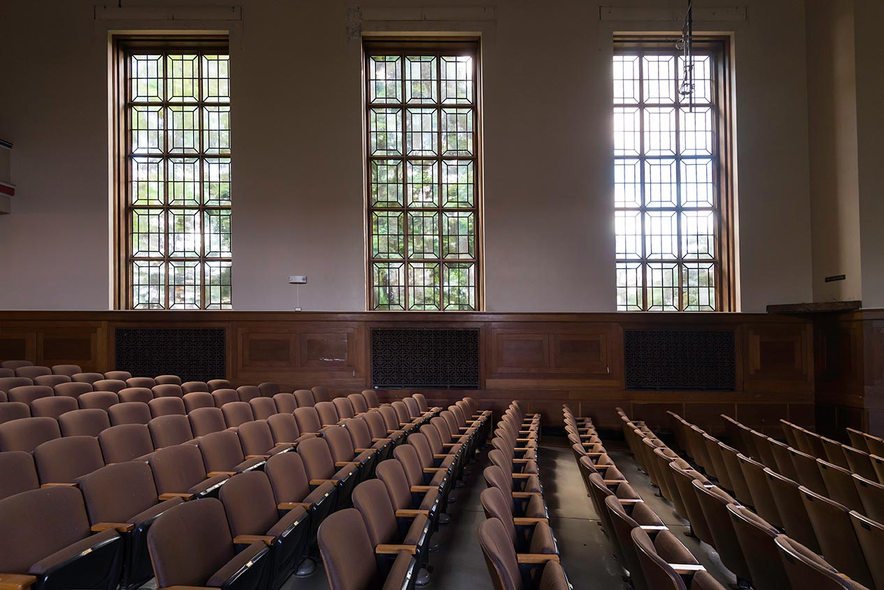 windows in Strong Auditorium