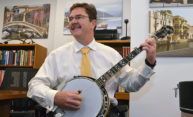 Rob Clark playing the banjo