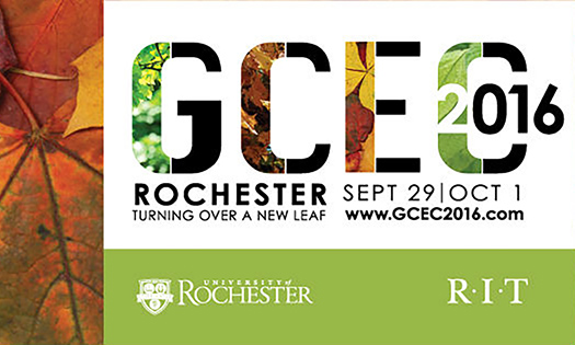 poster for event reads GCEO 2016: ROCHESTER TURNING OVER A NEW LEAF with logos for University of Rochester and RIT