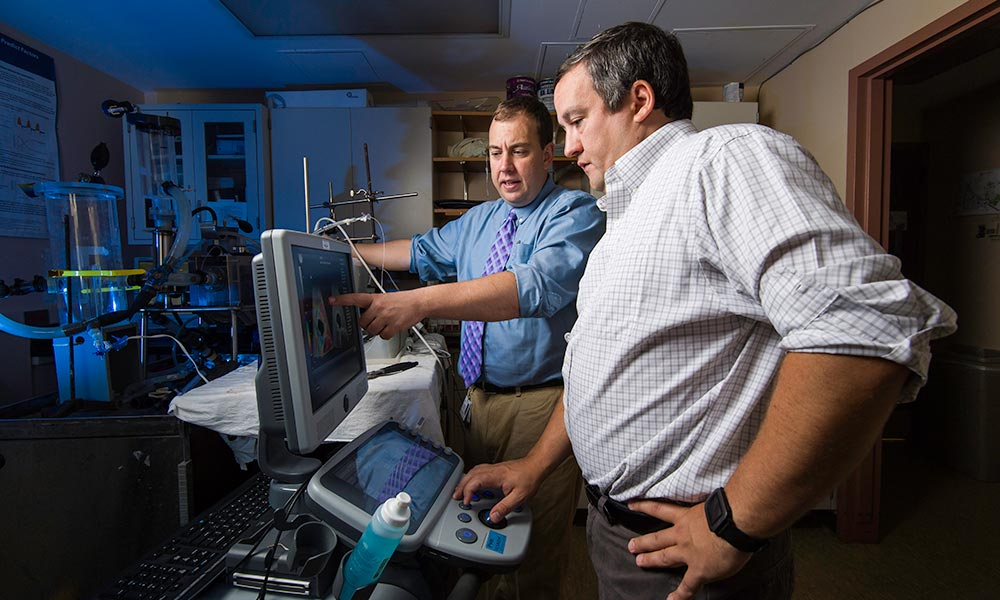 two researchers look at computer screen in lab