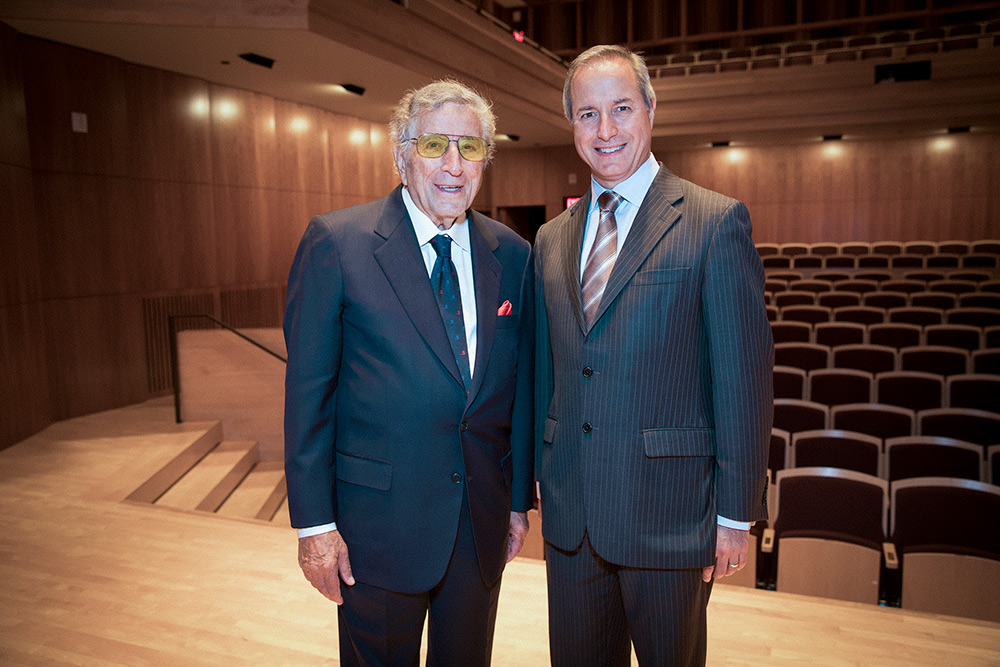 Singer Tony Bennett with Jamal Rossi, the Joan and Martin Messinger Dean of the Eastman School of Music.