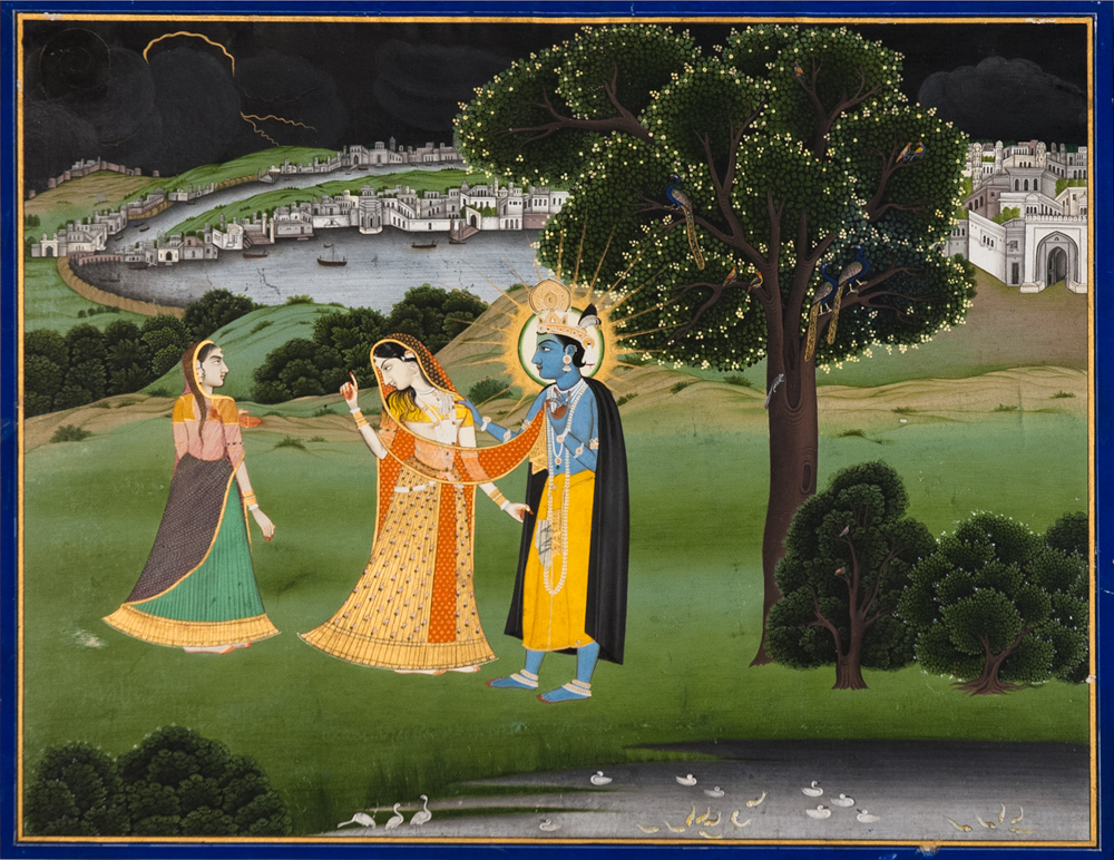 Krishna, Radha, and a Gopi, Indian, 1800s. Ink and color on paper