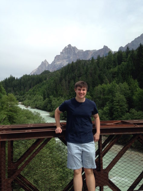 Andrew Tarbox '17 in Borca di Cadore, Italy, where he traveled with Nancy Chin on funding assistance from a Discover Grant. (Photo courtesy of Andrew Tarbox)