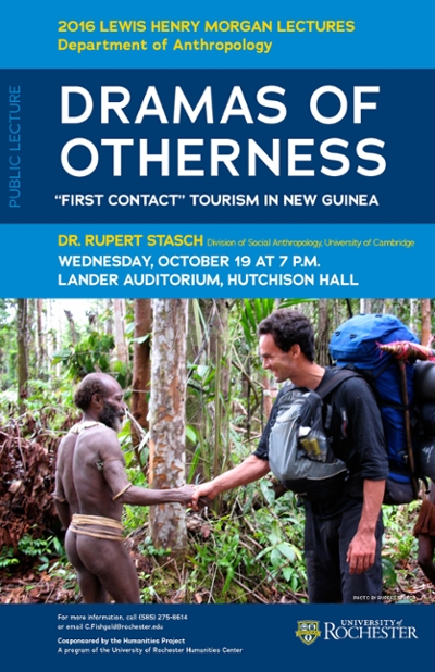 Event poster showing tribesman and a hiker