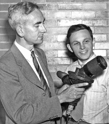 This image from A Jewel in the Crown, a history of the Institute of Optics edited by Carlos Stroud, shows Brian O'Brien, at left, with Institute faculty member Gordon Milne. O'Brien, who was director of the Institute from 1938 to 1951, was among several Institute faculty members who have served as president of the Optical Society.