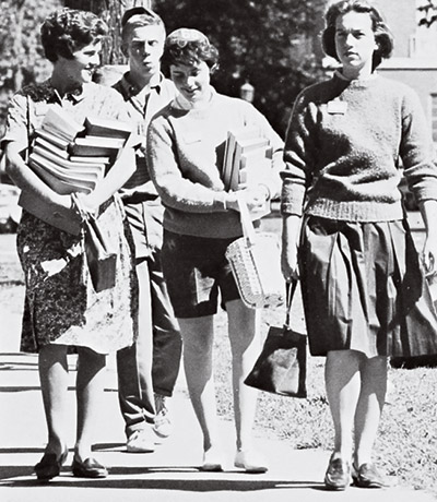 historic images of students on campus from 1966